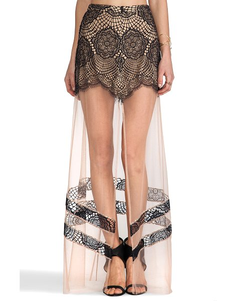 FOR LOVE & LEMONS Antigua maxi skirt - Self: 100% nylonLining: 87% poly 13% spandexContrast:...