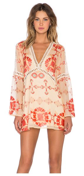 For Love & Lemons Barcelona a-line dress in coral - Self: 50% poly 50% rayonLining: 90% poly 10% spandex....