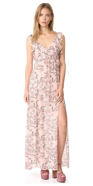 For Love & Lemons bee balm floral maxi dress in pink floral - A breezy, floral crepe For Love & Lemons maxi dress with...