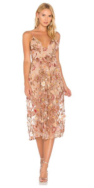 For Love & Lemons Botanic Midi Dress in brown - Nylon blend. Dry clean only. Fully lined. Adjustable...
