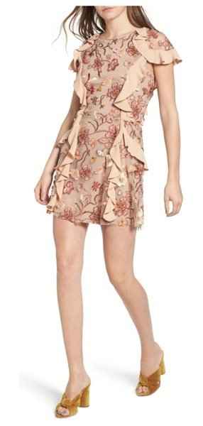 For Love & Lemons botanical embroidered ruffle minidress in nude floral