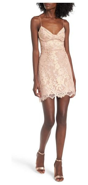 For Love & Lemons bumble slipdress in rose gold - Floral jacquard and a scalloped hem make a sophisticated...