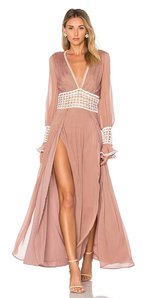 For Love & Lemons Celine Maxi Dress in blush - Self: 53% silk 47% viscoseLining: 97% poly 3% spandex....