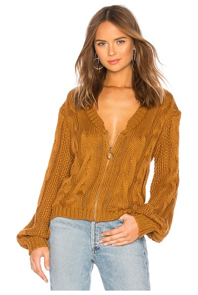 For Love & Lemons Charlotte Zip Cardigan in brown - Cotton blend. Dry clean only. Cable knit fabric. Front...