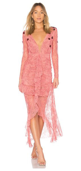 For Love & Lemons Daisy Lace Midi Dress in pink - Nylon blend. Dry clean only. Partially lined. Allover...