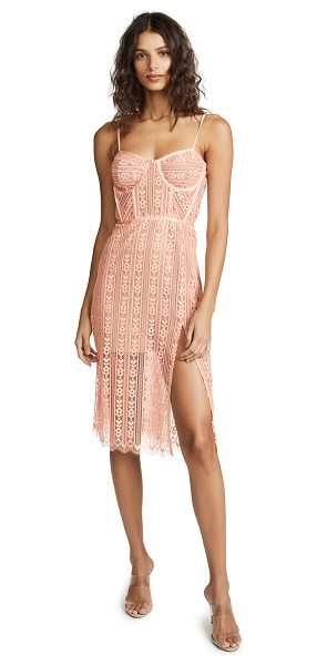 For Love & Lemons dakota lace dress in peach - Fabric: Lace Boned bodice Nonslip rubber binding at top...