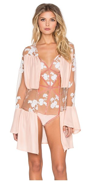 For Love & Lemons Darla silk robe in blush - Nylon blend. Hand wash cold. Waist tie front closure....