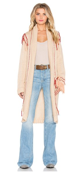 For Love & Lemons Denver knit cardigan in beige - 100% acrylic. Open front. Fringe accent. Front patch...