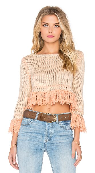 For Love & Lemons Denver knit crop sweater in beige - Cotton blend. Fringe accent. FORL-WK31. KHO15T401....