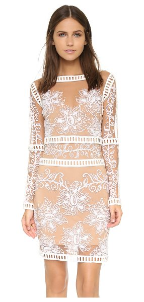 For Love & Lemons Desert nights mini dress in white/nude - Contrast floral embroidery and lattice trim cover this...