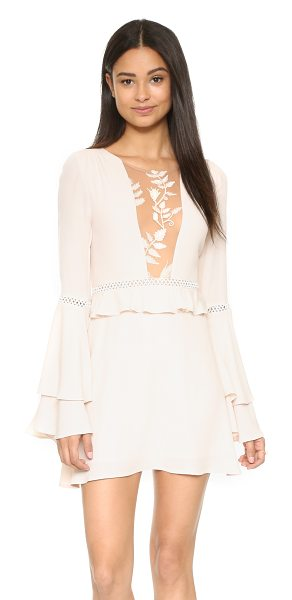 For Love & Lemons Emelia dress in dusty pink - Exclusive to Shopbop. A mesh panel with floral...