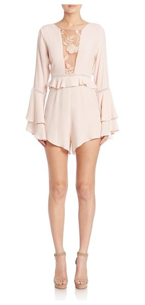 For Love & Lemons emelia long sleeve ruffled romper in dusty pink