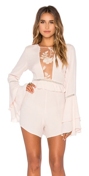 For Love & Lemons Emelia Romper in blush - Self: 55% viscose 45% rayonContrast: 100% nylon. Hand...