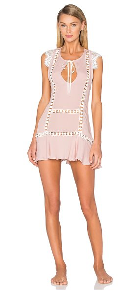 For Love & Lemons Emmy nightie in blush - Silk blend. Hand wash cold. Unlined. Neckline keyhole...