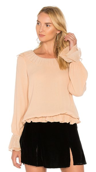 For Love & Lemons Evie Button Blouse in peach - Rayon blend. Dry clean only. Tulle trimmed edges. Ruffle...