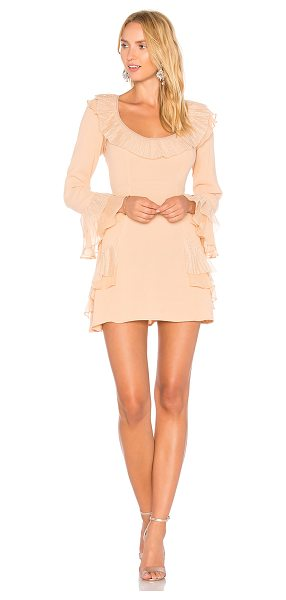 For Love & Lemons Evie Mini Dress in peach - Rayon blend. Dry clean only. Unlined. Tulle trim. Ruffle...