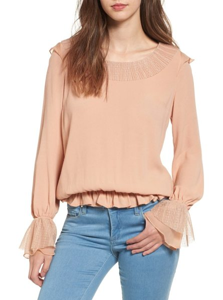 For Love & Lemons evie ruffle blouse in champagne - Dainty ruffles and a soft silhouette sweeten this...
