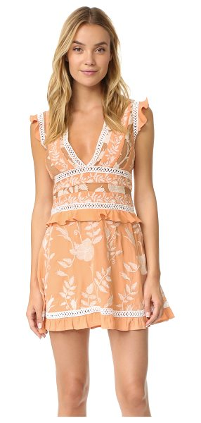 For Love & Lemons mia paneled mini dress in peach - Floral embroidery and crocheted ribbons bring intricate...