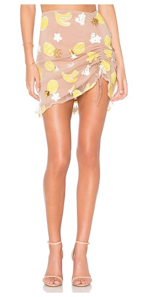 "FOR LOVE & LEMONS Fruitpunch Shirred Mini Skirt in tan - ""Self: 100% polyLining: 97% poly 3% spandex. Dry clean..."
