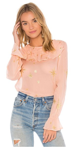 For Love & Lemons Gilded Star Blouse in pink - 90% silk 10% nylon. Dry clean only. Ruffle trim. Elastic...