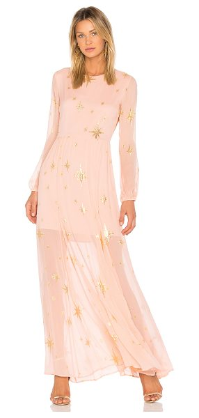 For Love & Lemons Gilded Star Maxi Dress in pink - Silk blend. Dry clean only. Fully lined. Metallic star...