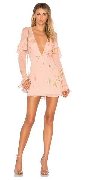 For Love & Lemons Gilded Star Mini Dress in pink - Self: 90% silk 10% nylonLining: 97% poly 3% spandex. Dry...