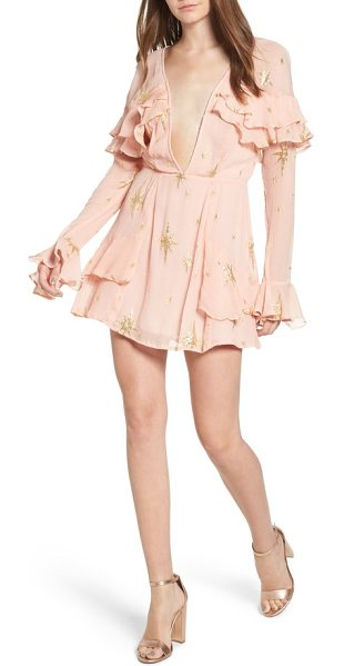 For Love & Lemons gilded star minidress in rose gold - Channel feminine romance with this minidress featuring a...