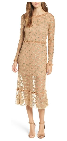 For Love & Lemons golden garden tulle midi dress in gold - A lavish blend of sparkling bug embroidery and...