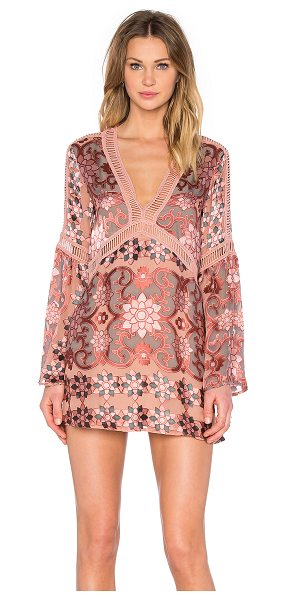 For Love & Lemons Juliet A-Line Dress in pink - Self: 55% silk 45% viscoseLining: 97% poly 3% spandex....