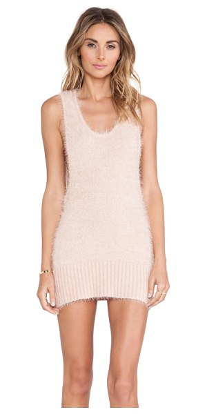 For Love & Lemons Ski bunny tank dress in peach - 78% poly 22% acrylic. Dry clean only. Unlined....