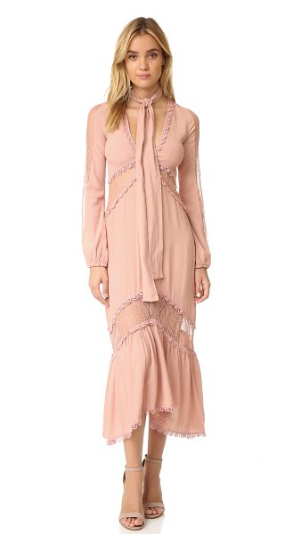 For Love & Lemons lilou dress in dusty pink - Panels of crepe and lace lend dimension to this fluid...