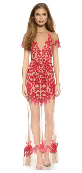 For Love & Lemons Luau maxi dress in red/nude - Contrast embroidery brings a pop of color to this For...