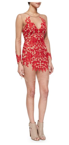 For Love & Lemons Luau mesh lace mini dress in red & nude - For Love & Lemons Luau dress in lace mesh with sheer...