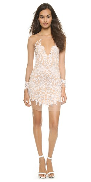 For Love & Lemons Luau mini dress in white/nude - Floral embroidery on sheer tulle lends dark allure to a...