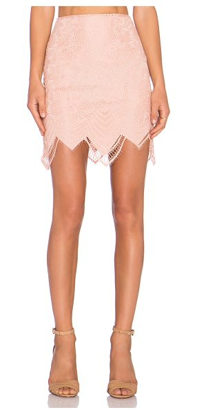 For Love & Lemons Luna mini skirt in blush - Self: 100% nylonLining: 90% poly 10% spandex. Dry clean...