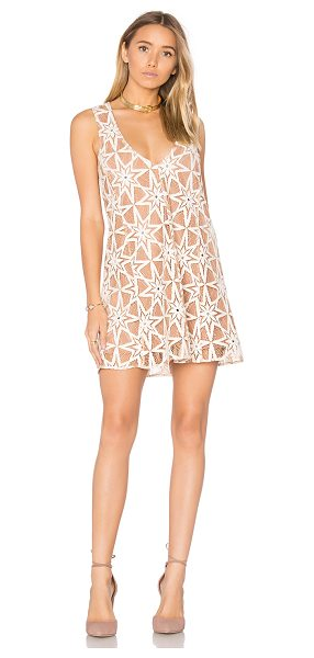 For Love & Lemons Metz Mini Dress in tan - Self: 71% cotton 29% nylonLining: 90% poly 10% spandex....