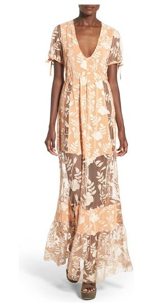 For Love & Lemons mia maxi dress in peach - Intricate lace embroidery artfully tempers the...