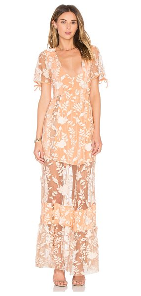 For Love & Lemons Mia Maxi Dress in peach - Nylon blend. Hand wash cold. Unlined. Embroidered...
