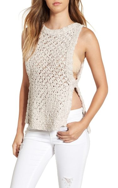 For Love & Lemons mulberry banded knit tank in oatmeal - Textural cotton yarn is loosely knit into a chunky...