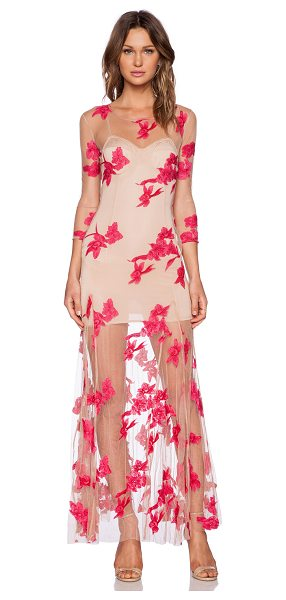 For Love & Lemons Orchid maxi dress in pink - Nylon blend. Partially lined. Embroidered floral...