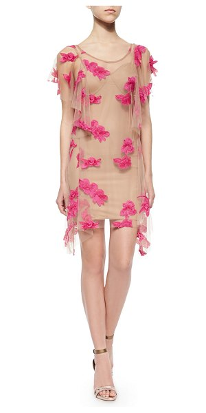 "For Love & Lemons Orchid short-sleeve mini dress - in paradise pink - For Love Lemons ""Orchid"" mesh mini dress with appliques...."