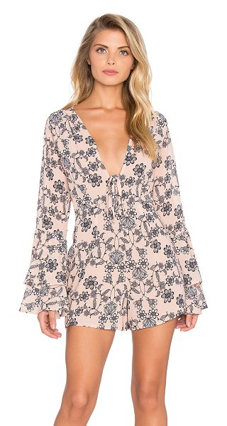 For Love & Lemons Pia romper in peach - Poly blend. Hidden back zipper closure. Lace-up front....
