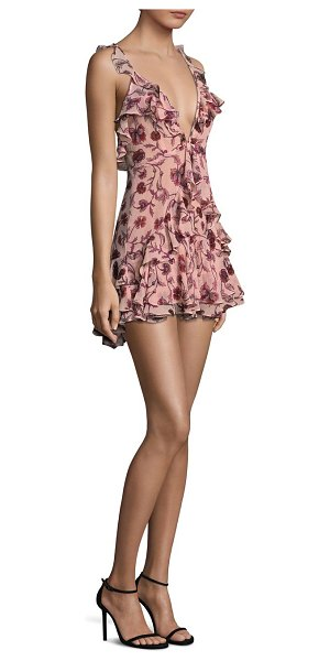 For Love & Lemons poppy floral ruffle mini dress in soft rose - Floral mini dress with flirty ruffle detailing. Deep...