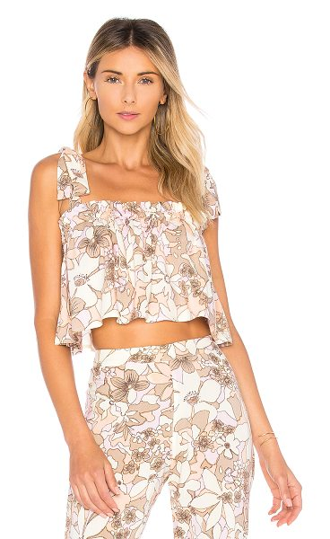 For Love & Lemons Renata Tank Top in cream - 100% rayon. Dry clean only. Elasticized neckline....