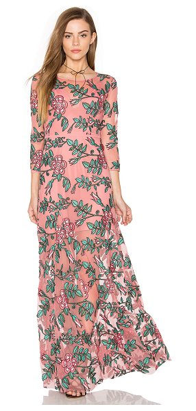 For Love & Lemons Rosali Maxi Dress in pink - Self: 100% nylonLining: 82% nylon 18% spandex. Dry clean...