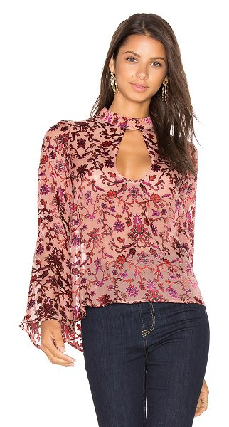 For Love & Lemons Saffron Blouse in pink - Self: 75% viscose 25% silkContrast: 100% poly. Dry clean...