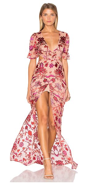 For Love & Lemons Saffron Maxi Dress in pink - Silk blend. Dry clean only. Partially lined. Front slit....