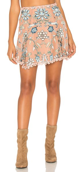 For Love & Lemons Saffron Skirt in beige - Silk blend. Dry clean only. Fully lined. Lace trim....