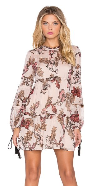 For Love & Lemons Santa rosa mini dress in blush - Silk blend. Partially lined. Long sleeves with tassel...