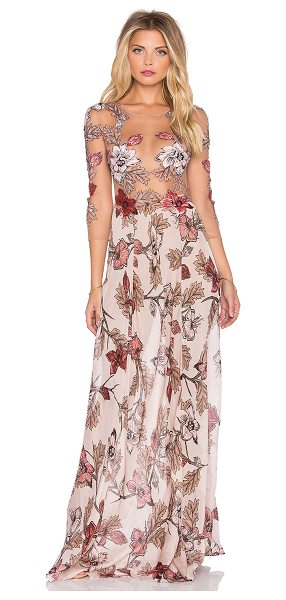 For Love & Lemons Sierra maxi dress in blush - Silk blend. Partially lined with attached brief bottoms....